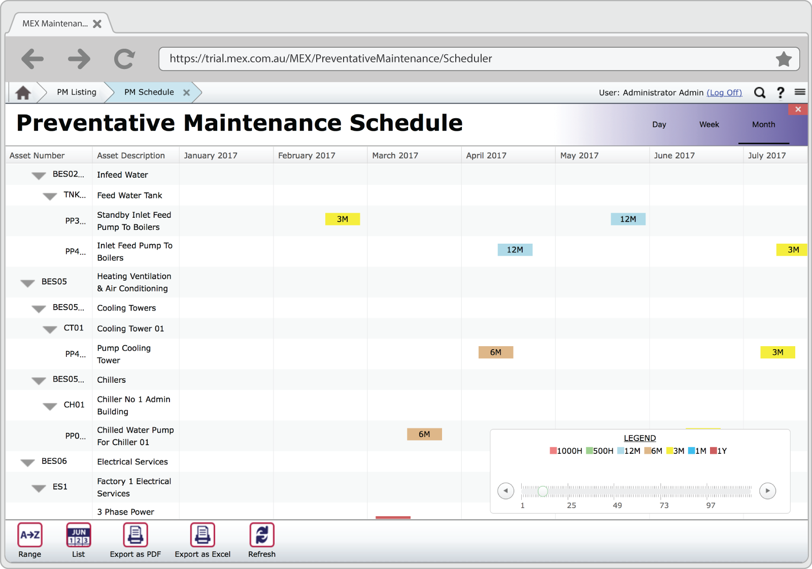 FleetMEX preventative maintenance schedule