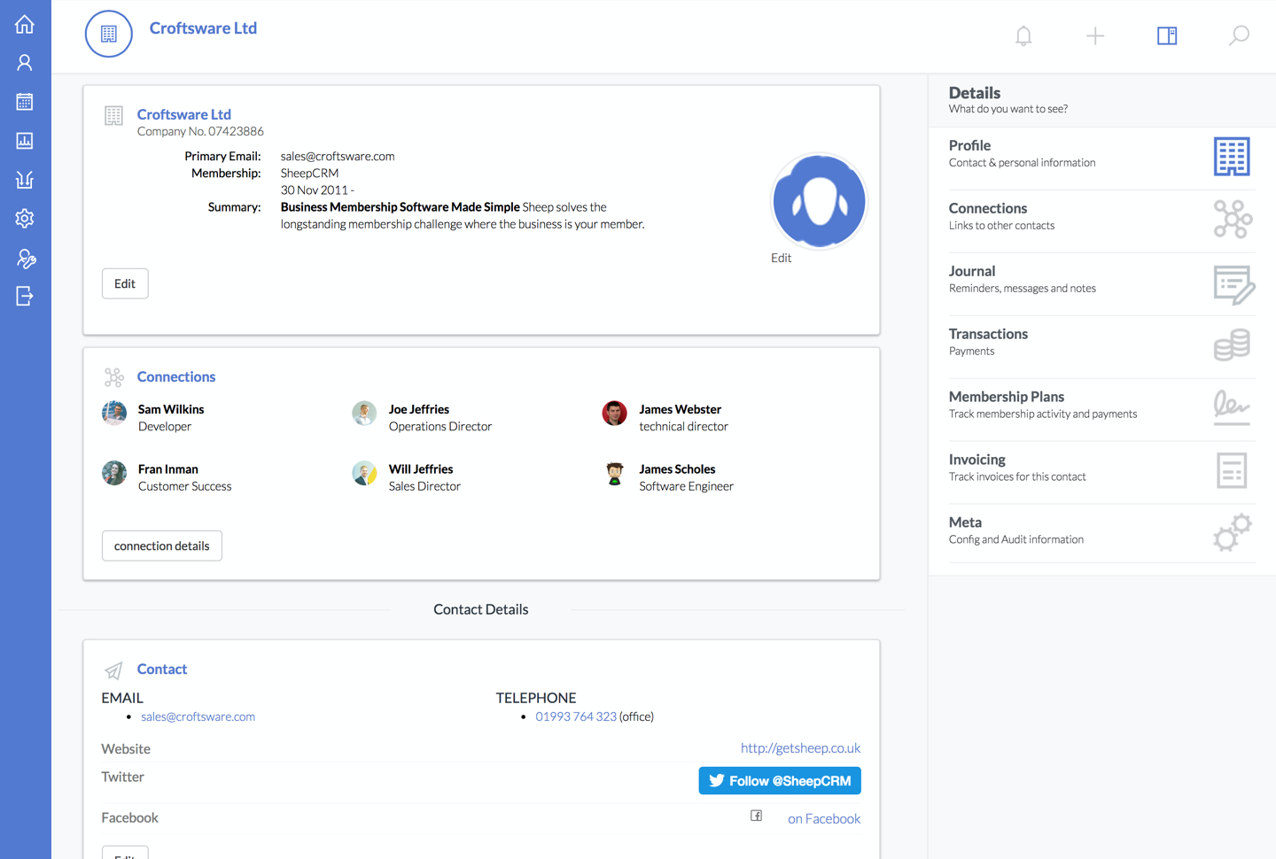SheepCRM screenshot: Sheep solves the longstanding membership challenge where the business is your member.