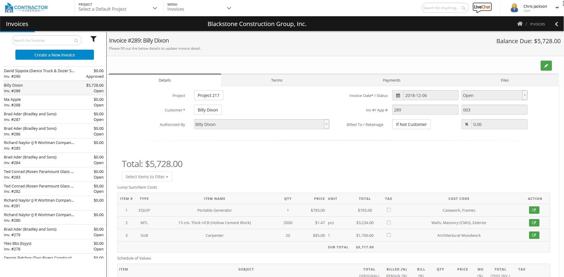 Contractor Foreman Software - Invoice