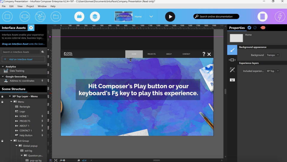 Play experiences using the Intuiface Player