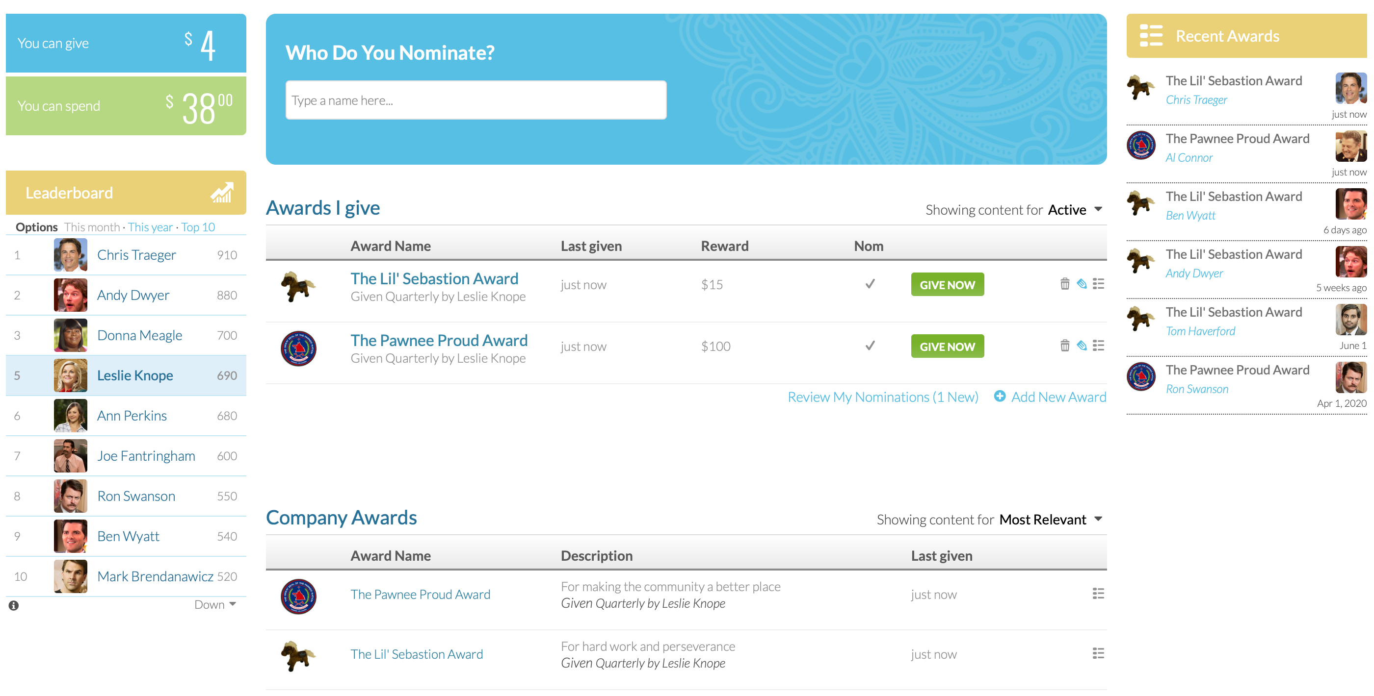 Create customizable awards for the company, departments, teams, etc.