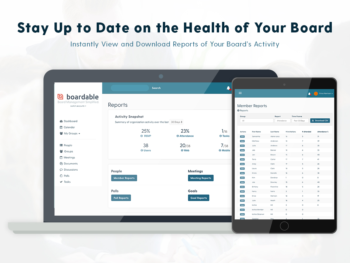 Keep your board, staff, and other stakeholders informed on your nonprofit's performance and accomplishments with the Boardable Reports feature. Quickly view and download a variety of reports to gain insight into your board's activities.