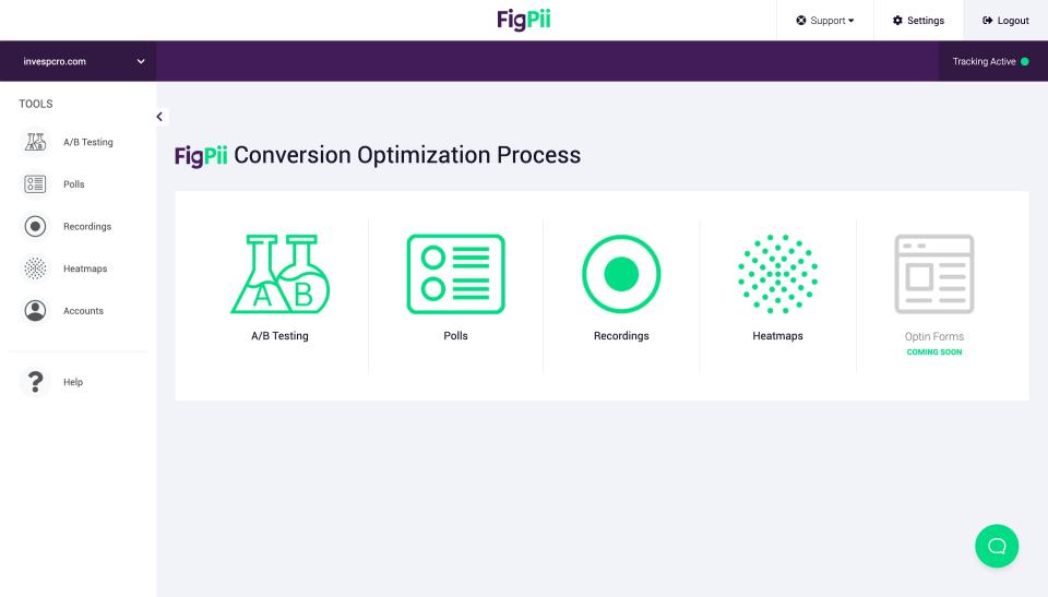 FigPii screenshot: FigPii home dashboard