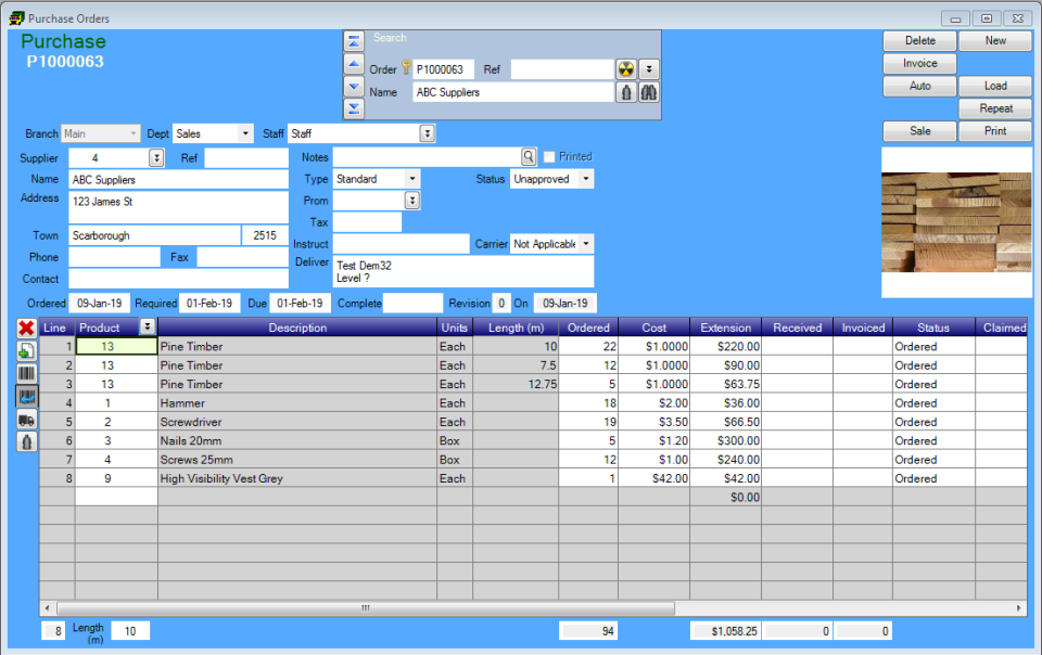 Acumen screenshot: Acumen purchase orders