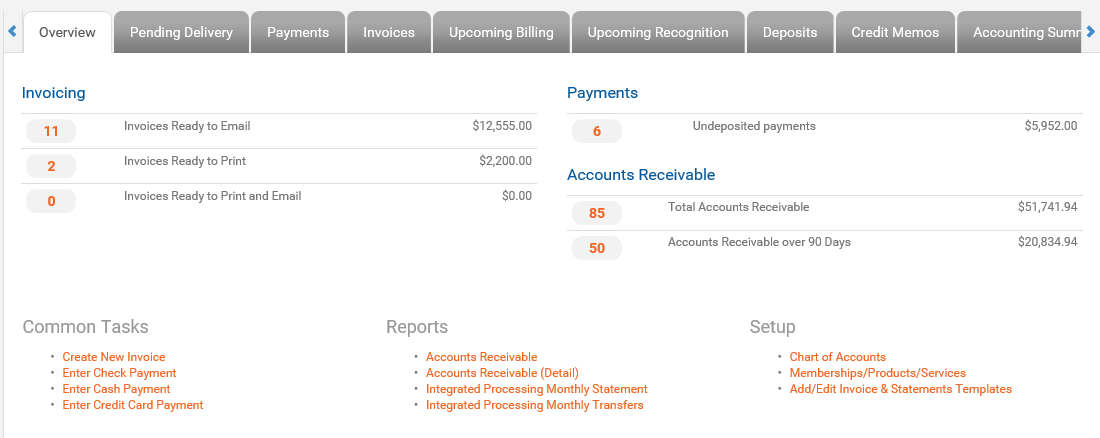 Integrated billing capabilities for batch running invoices, statements, letters and more
