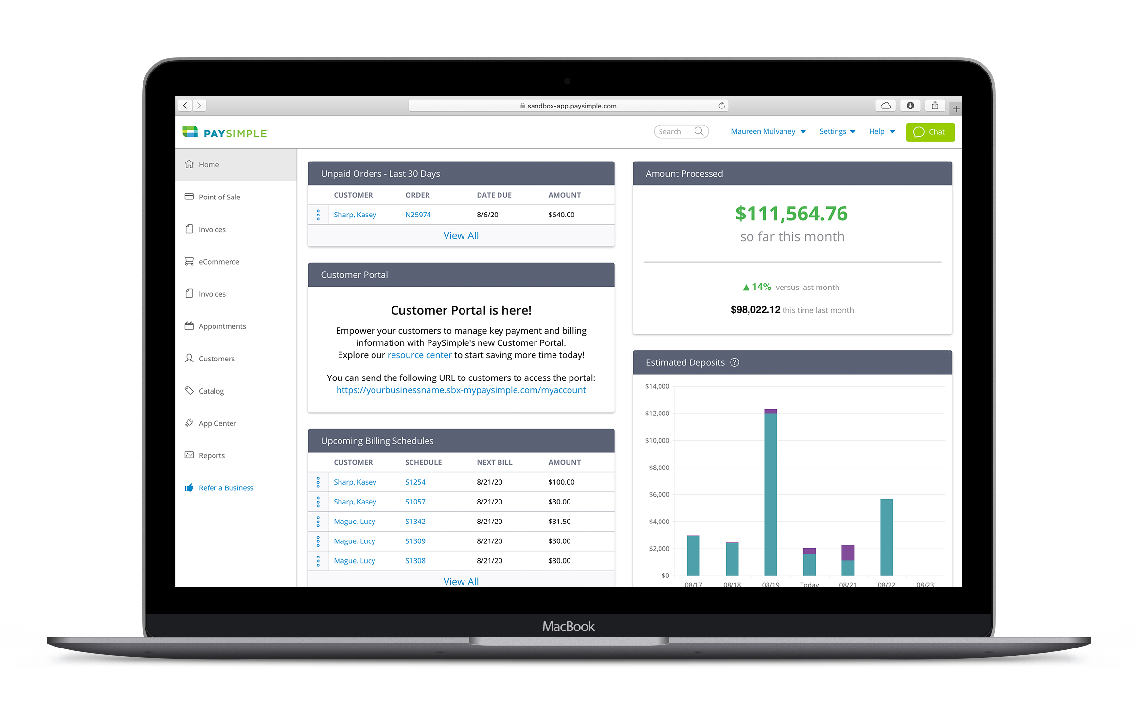 PaySimple Software - View your business at a glance with a dynamic dashboard