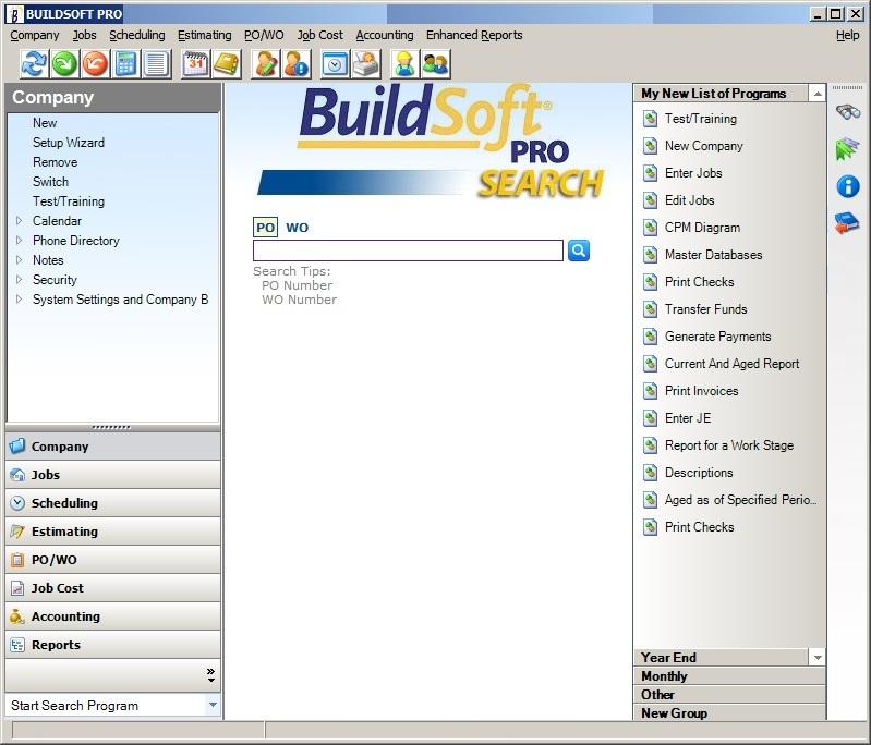 BuilSoft Pro Main Dashboard