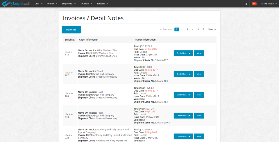 Users can view invoices and debit notes on a centralized dashboard