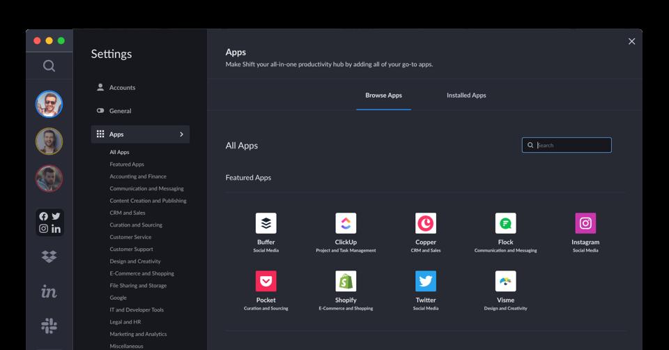 Shift app directory