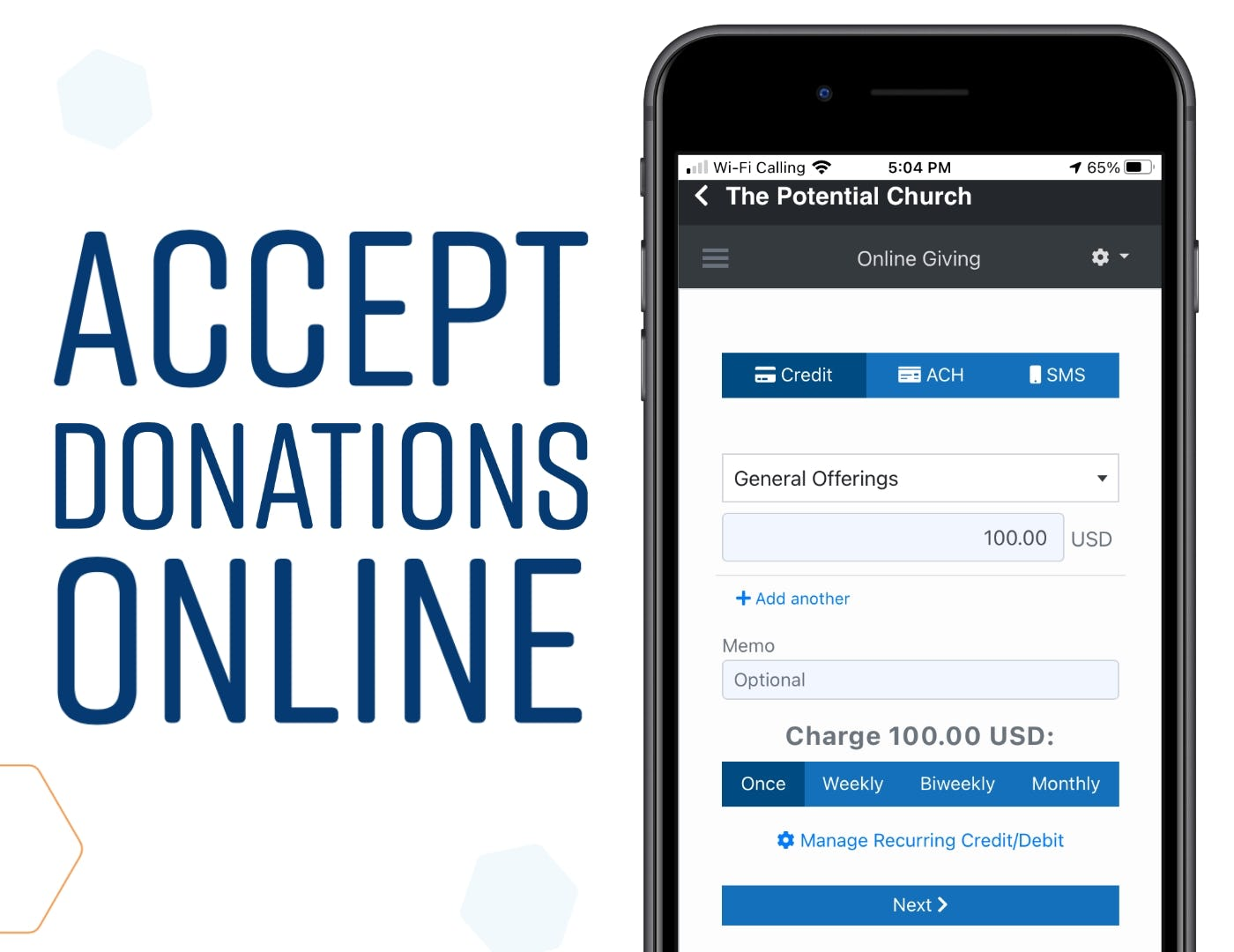 ChurchTrac Software - Accept Donations Online