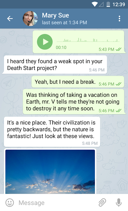 Example message thread shown on Telegram Messenger for Android