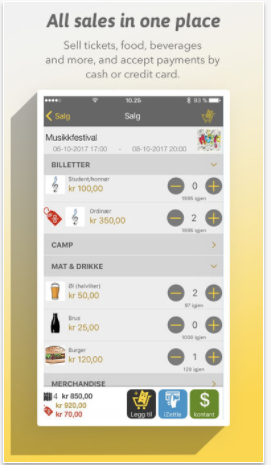 Sell tickets, food, beverages and more, and accept payments by mobile, cash or credit card