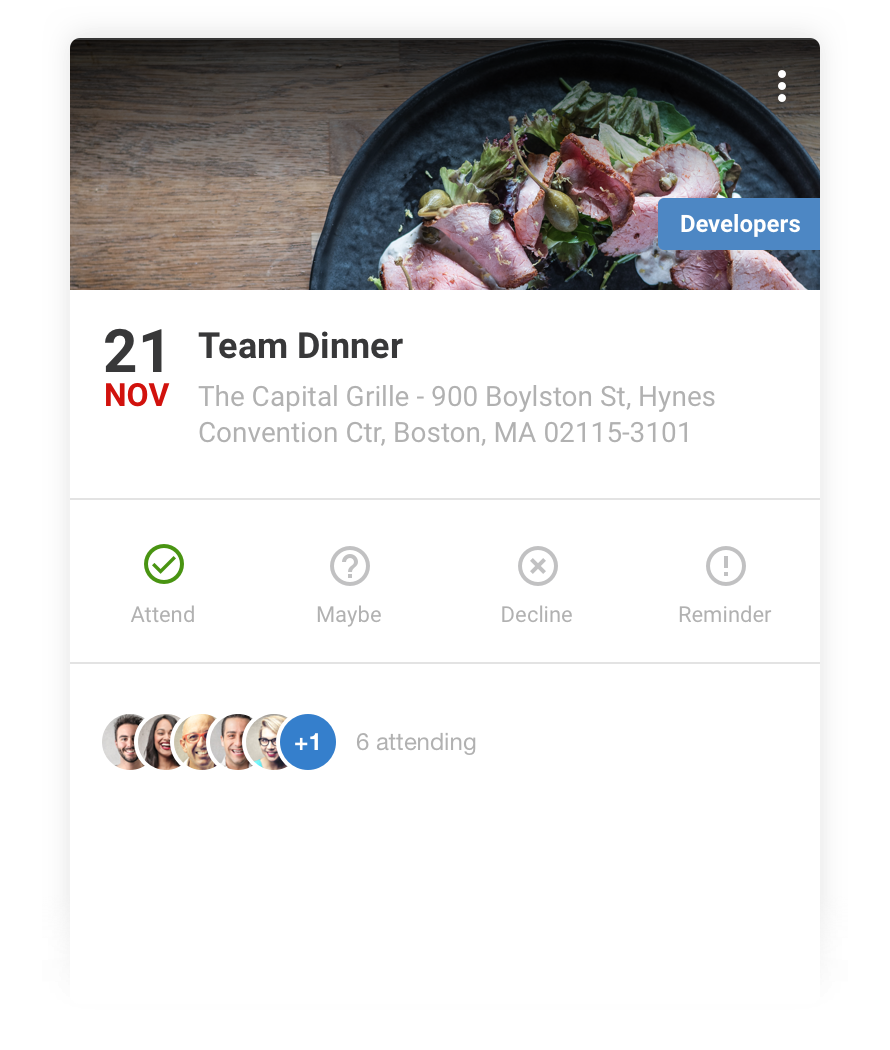 Create events in Speakap including image, date, time and venue - and send to the relevant employees or groups