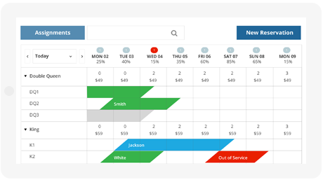 The calendar displays daily availability under the date, and room rates