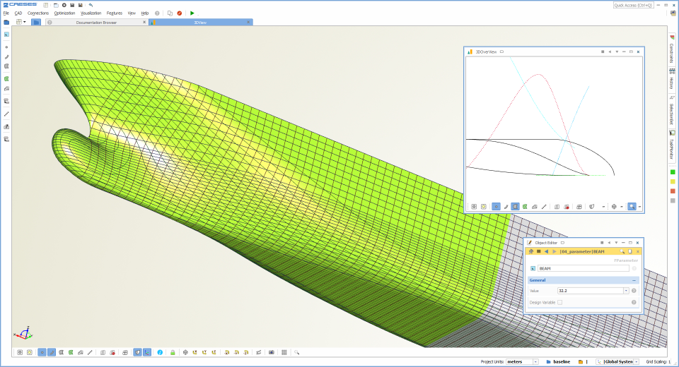 CAESES screenshot: CAESES ship design optimization screenshot