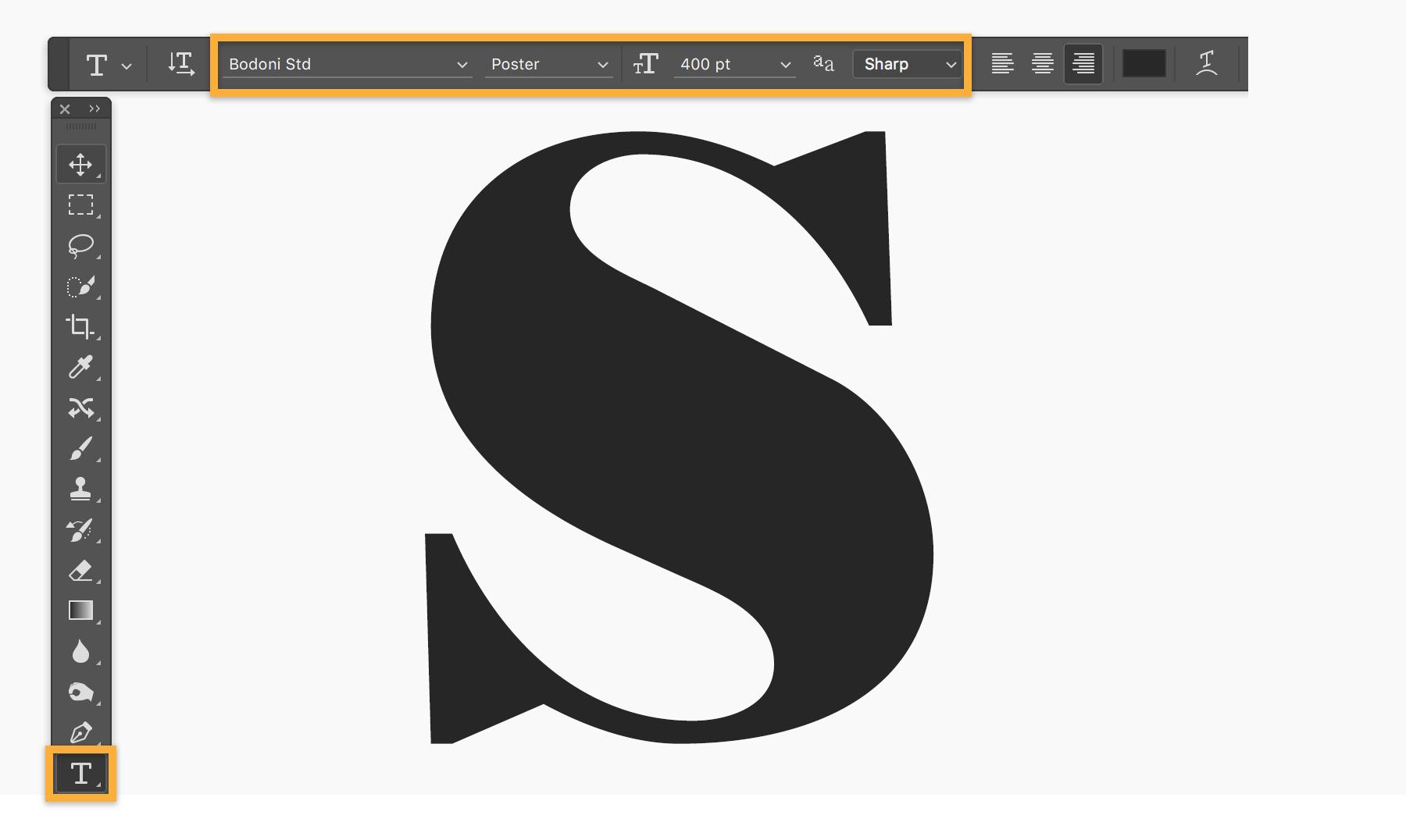 Adobe Photoshop text editing