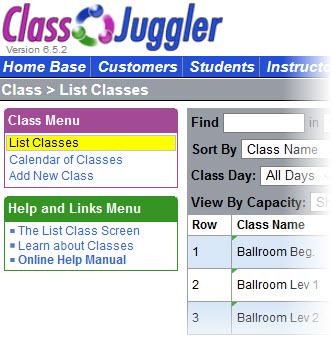 ClassJuggler Software - Class list