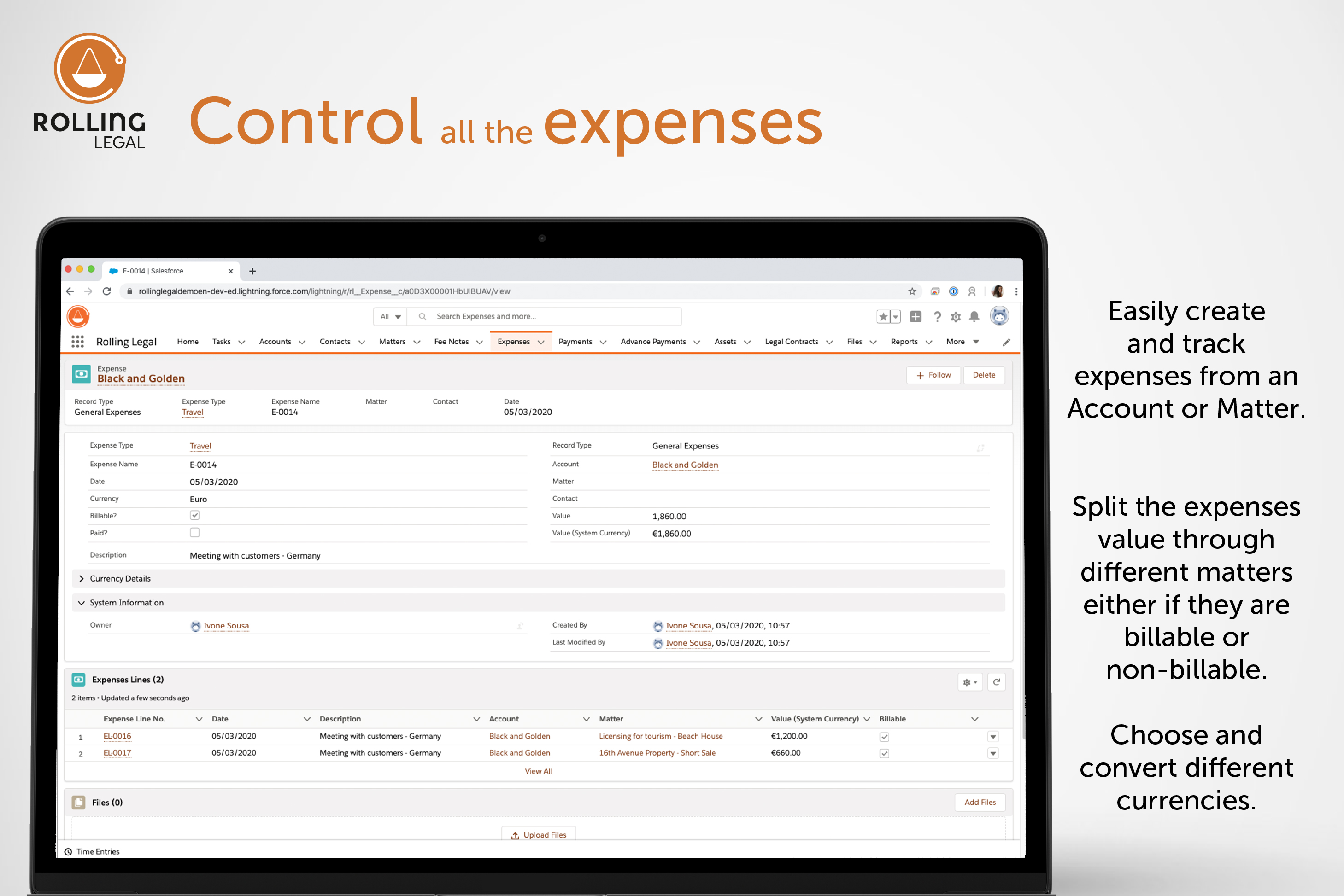 Rolling Legal: Control all the expenses!