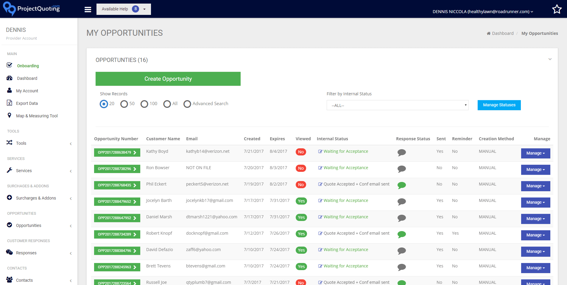 View and manage all quotes in one place