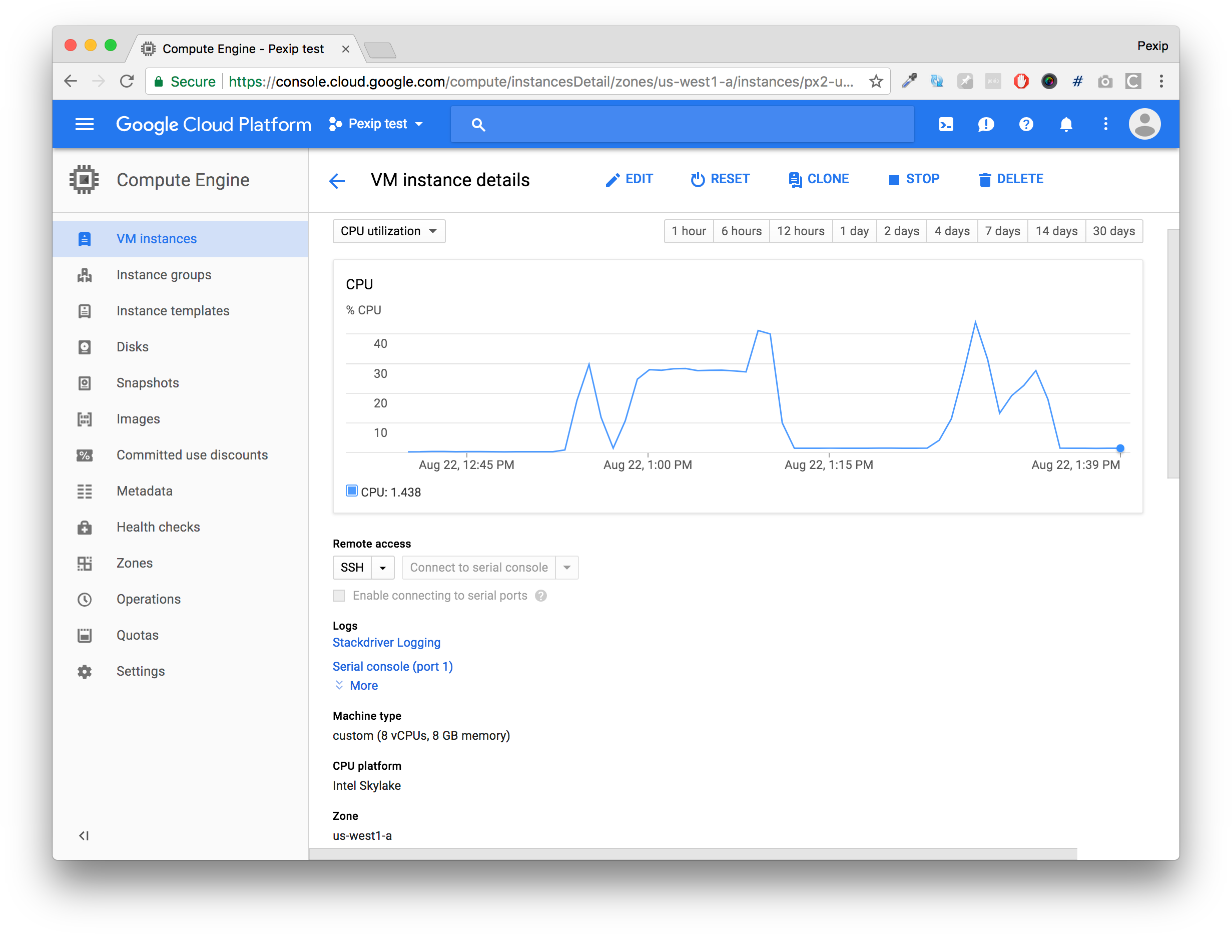 Pexip screenshot: Integrate Pexip Infinity into the Google Cloud Platform to fetch details such as analytics, instances, and more