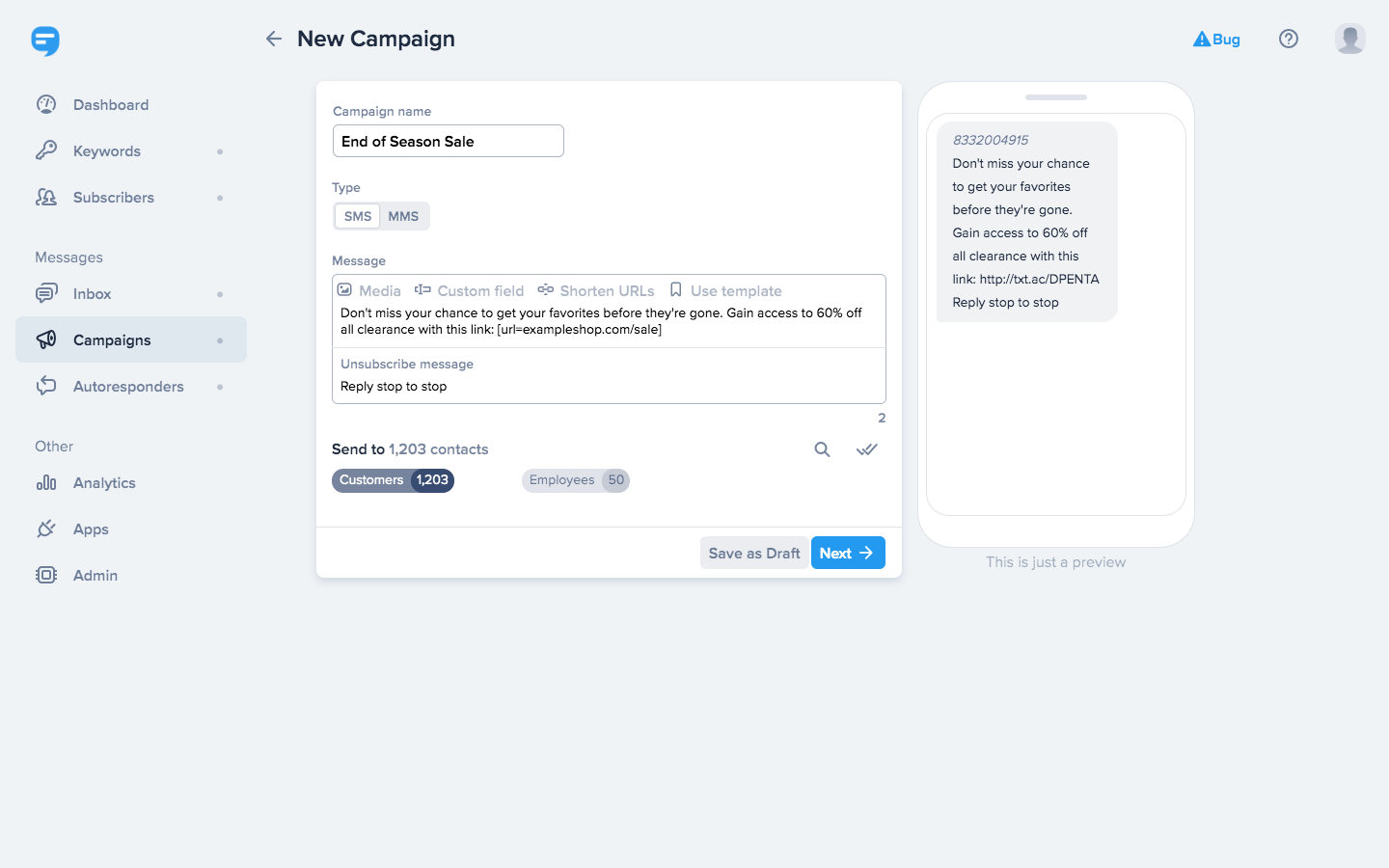 Reach your entire audience at once with bulk messages, or send campaigns to specific lists of subscribers.
