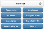 MantisBT screenshot: xThe Dashboard screen within the MantisTouch web app, showing search bar, project selection menu and buttons for navigating the various issue reporting features