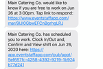 Event Staff App screenshot: Automated text messages sent from the system so that you don't have to spend time texting your staff.