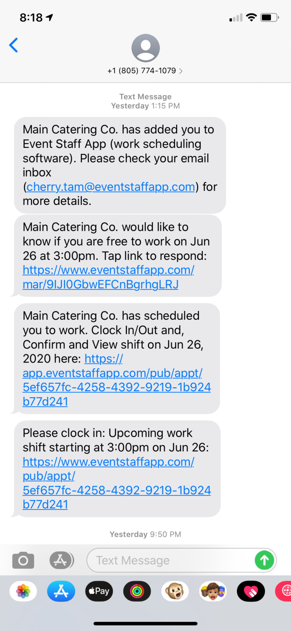 Automated text messages sent from the system so that you don't have to spend time texting your staff.