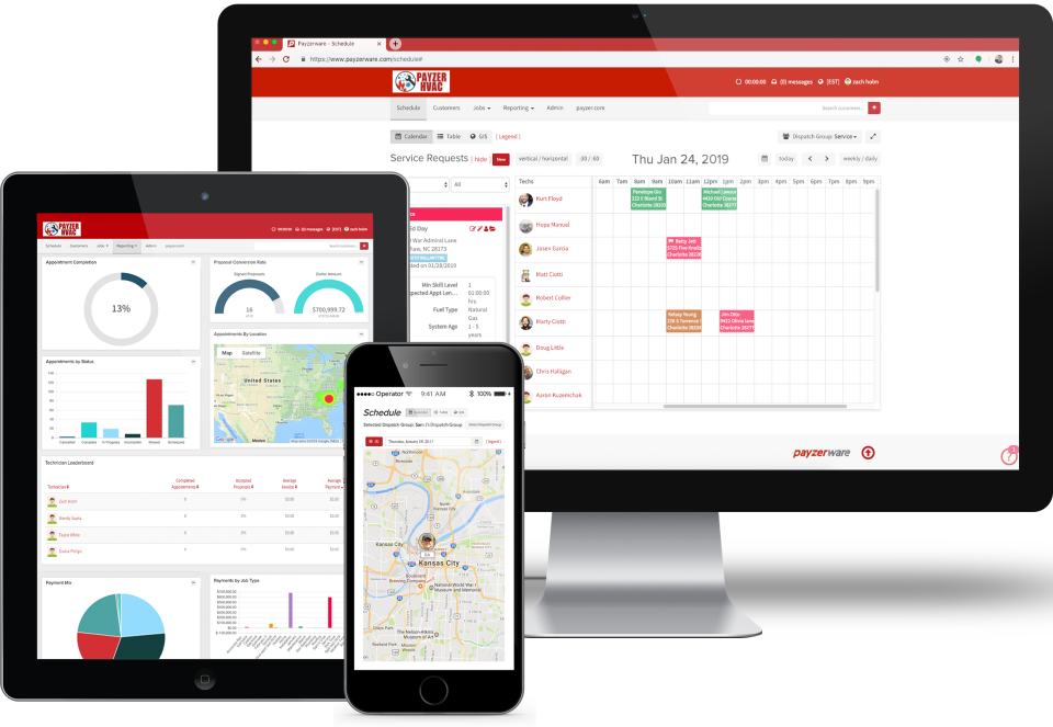 Payzerware screenshot: Payzerware is an end-to-end service business management solution for contractors and technicians, offering user support across desktop, tablet and smartphone devices