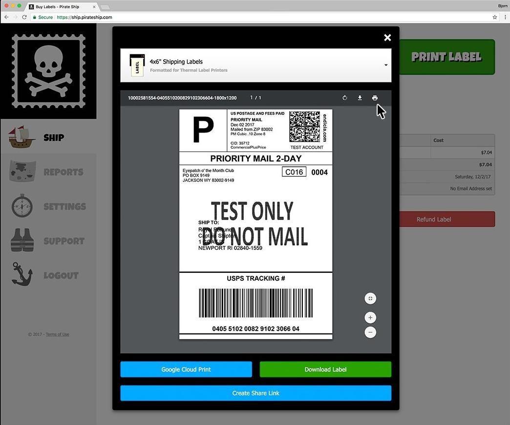 Pirate Ship screenshot: Pirate Ship label printing screenshot