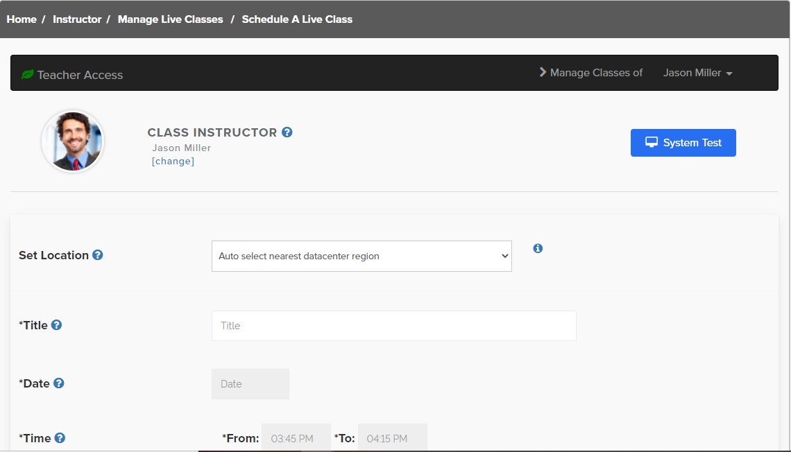 Dashboard to schedule live classes