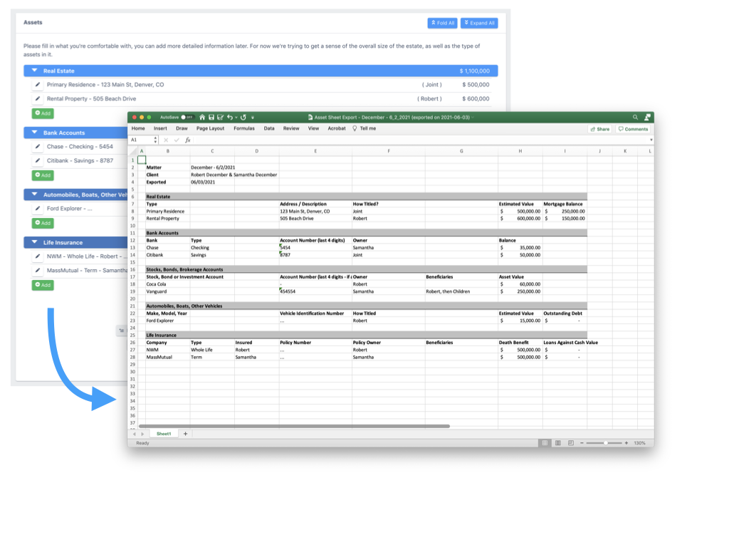 Information captured in the asset inventory can be exported as an Excel sheet