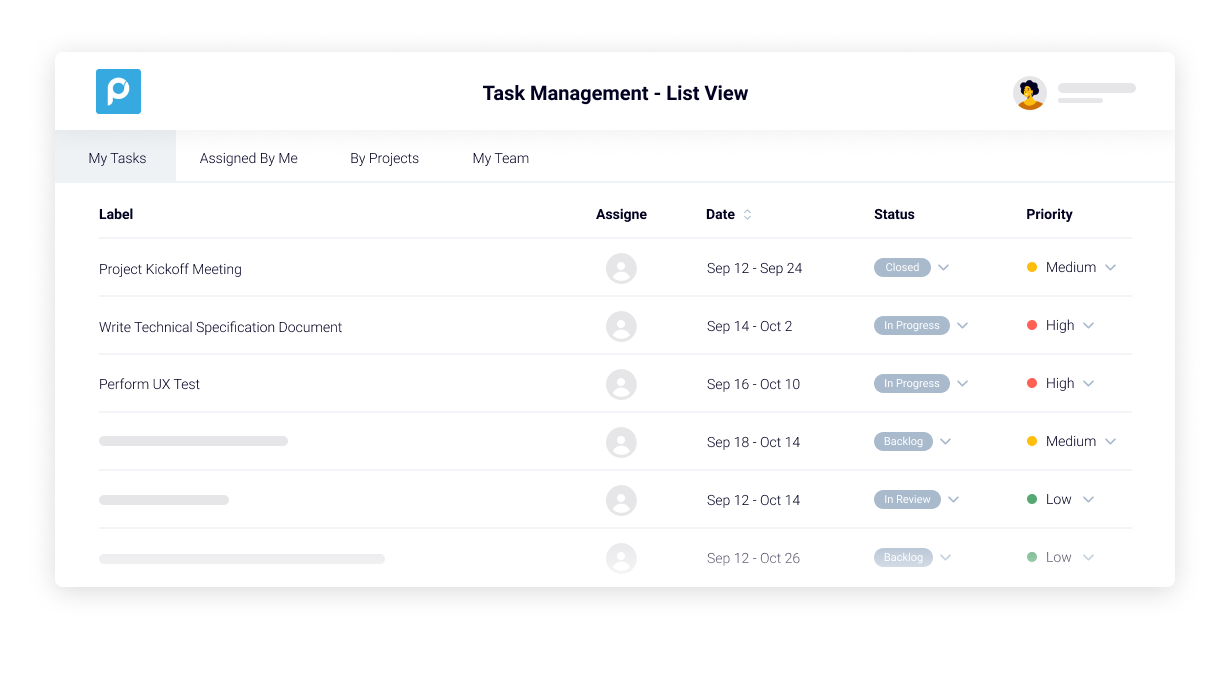 Proggio Software - Task Management view in a list. Filter and save favorite views for yourself or teammates.