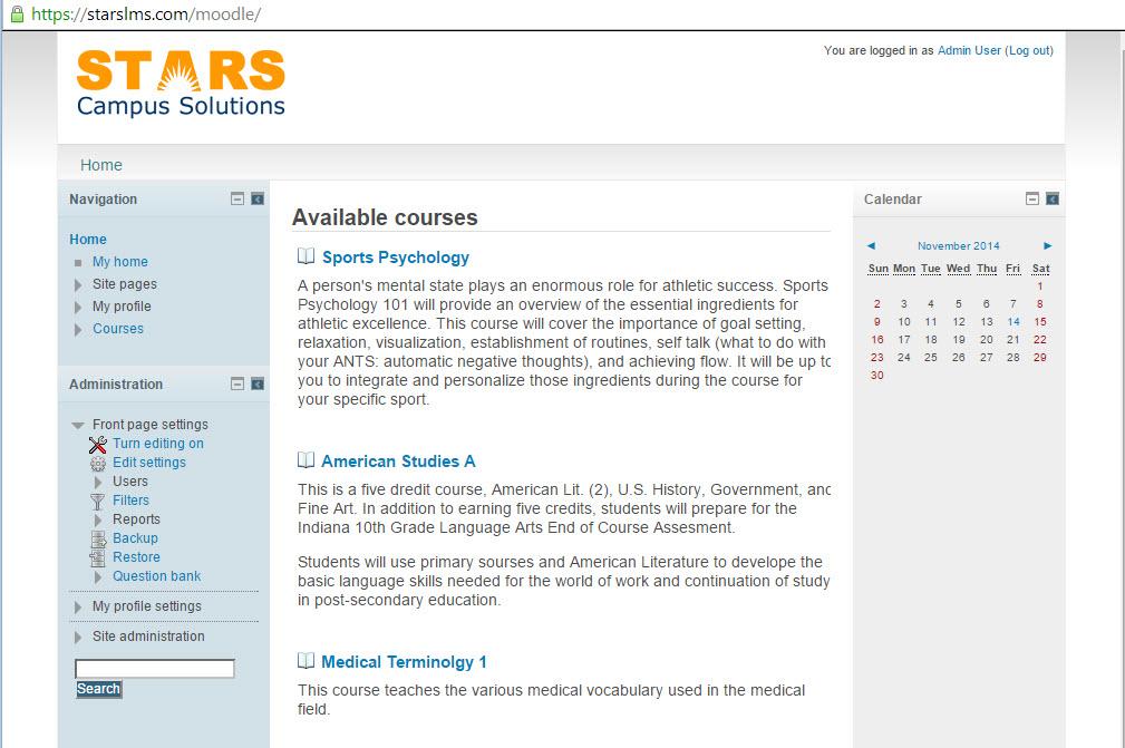 STARS admin portal