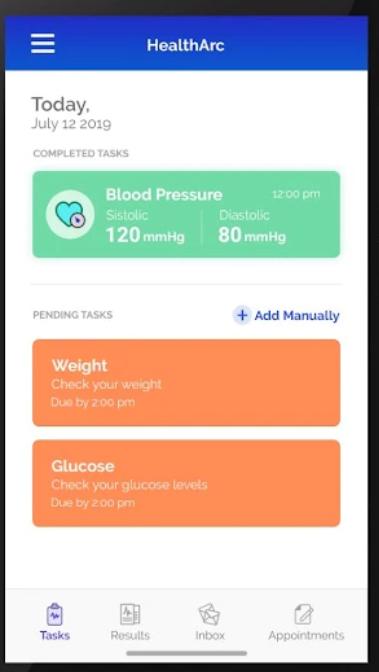 HealthArc screenshot: HealthArc pending tasks