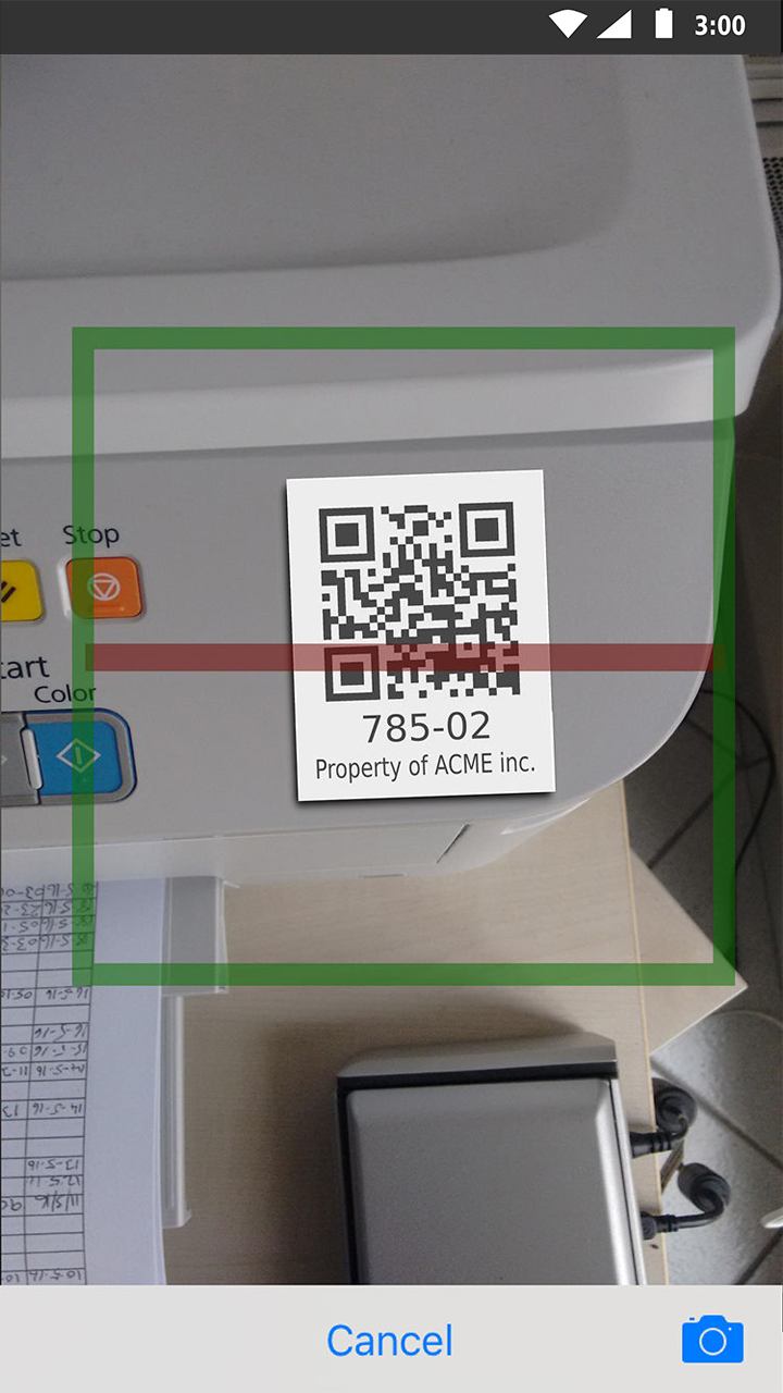 Scan a tag on an asset
