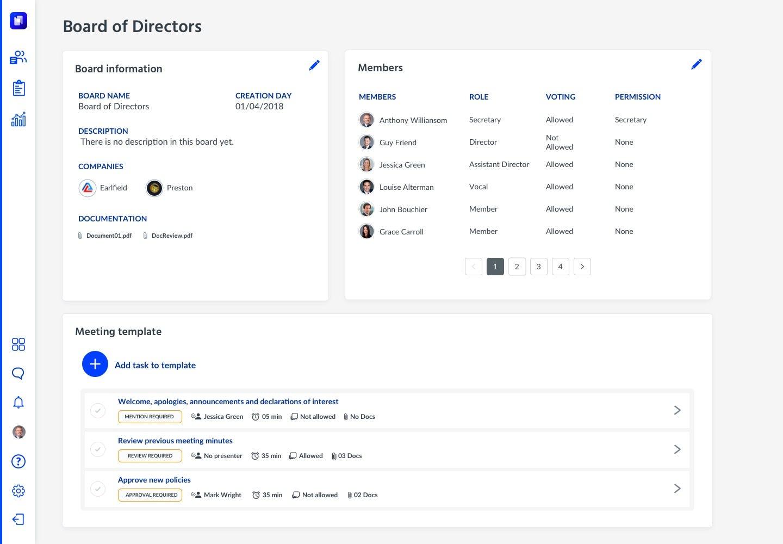 Hetikus Software - Boards & Committees board detail screenshot