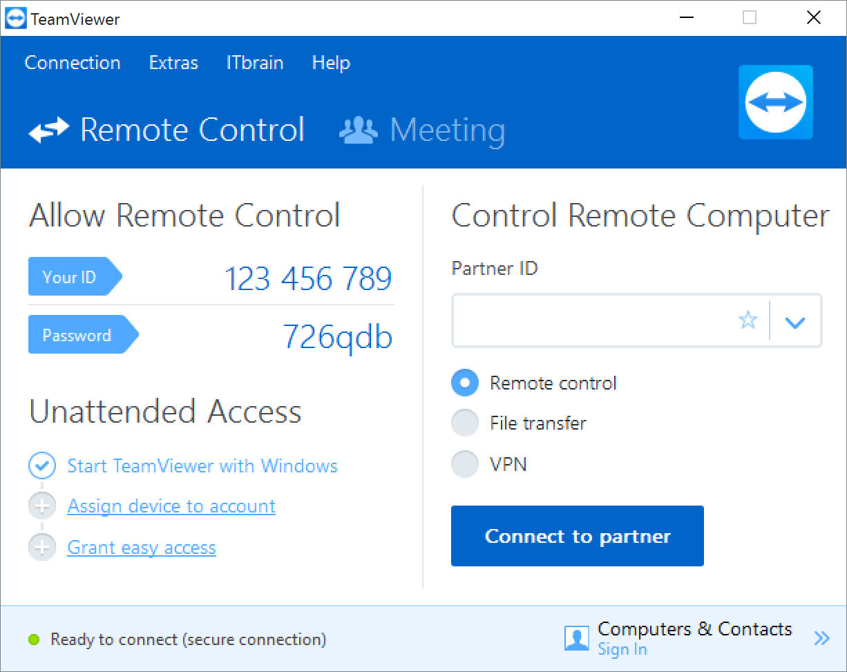 TeamViewer screenshot: Access and control devices anywhere with the TeamViewer Remote Control