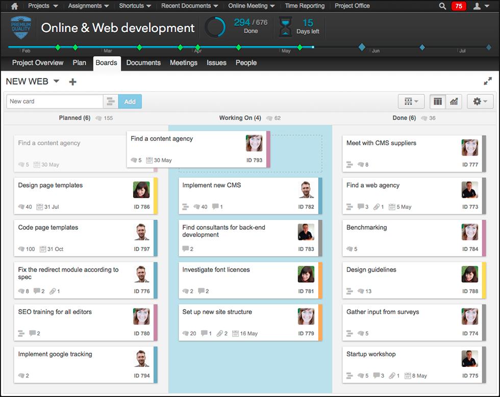 Online interactive kanban board in Projectplace