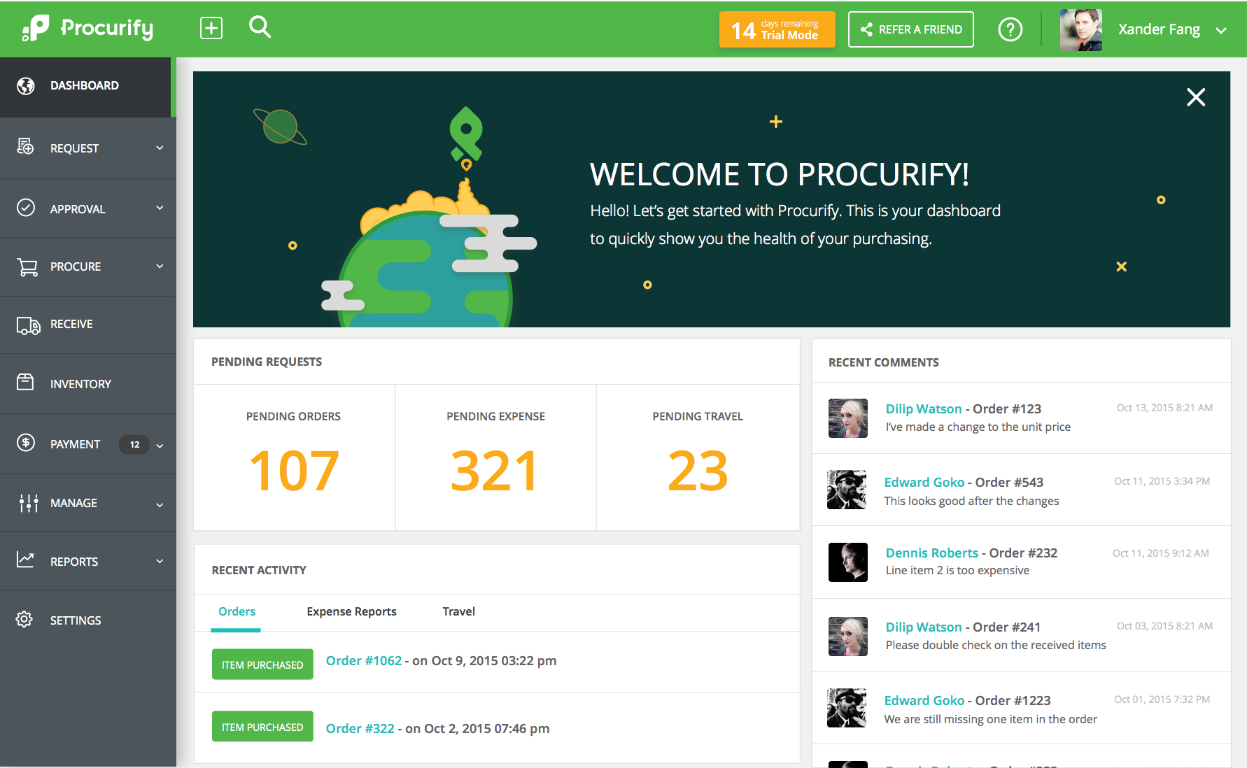 Procurify screenshot: Welcome Dashboard