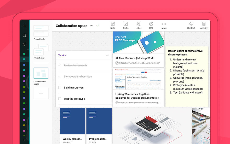 Infolio collaboration space