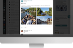 Plek screenshot: Add photos or videos to your posts - people love visuals!