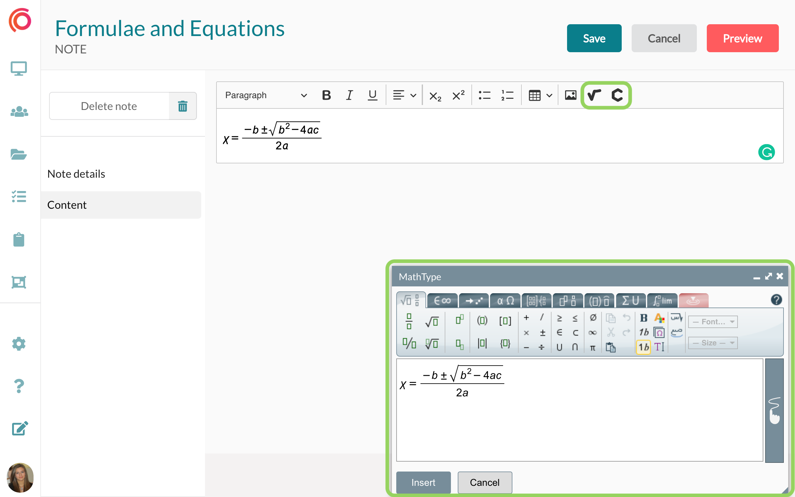 Create notes with rich text, formulae and equations.
