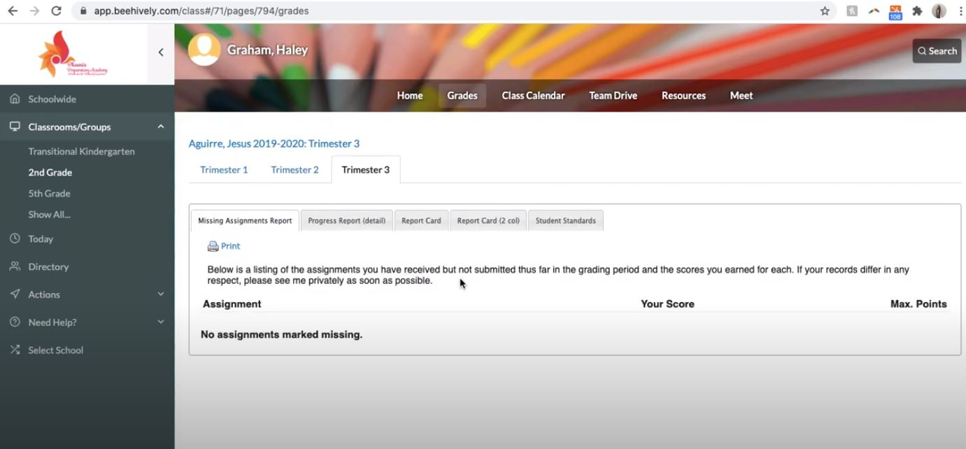 Beehively screenshot: Beehively view student's grades