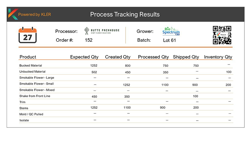 Process Tracking Report