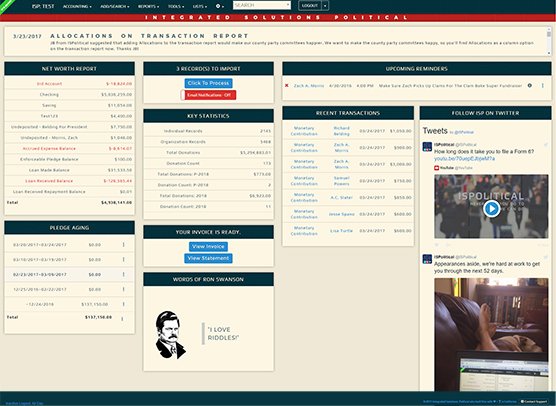 ISPolitical Software - Optimized political dash
