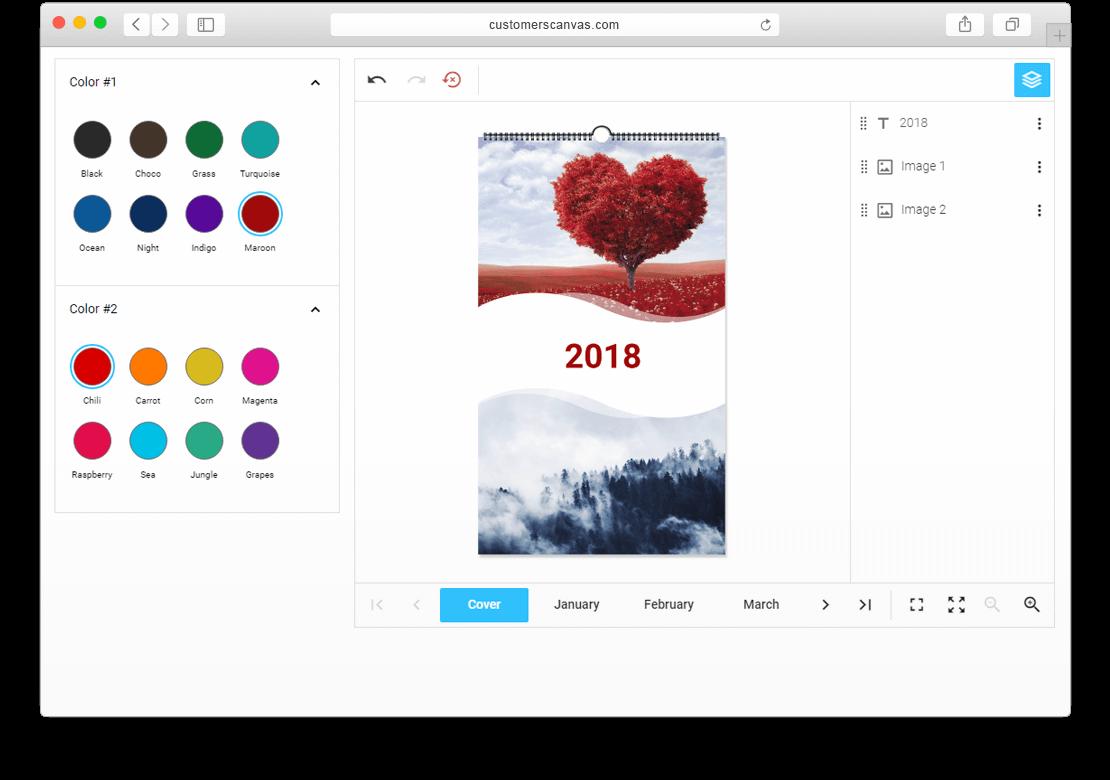 Customer's canvas calendar themes