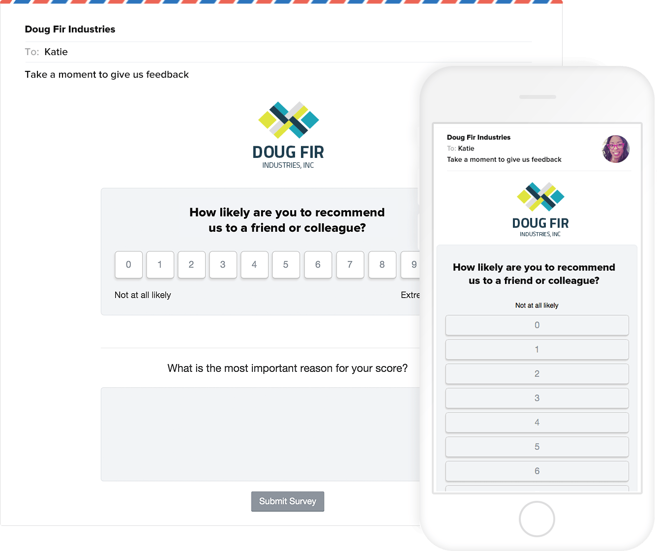 Promoter.io's NPS surveys can be answered by customers on desktop or mobile