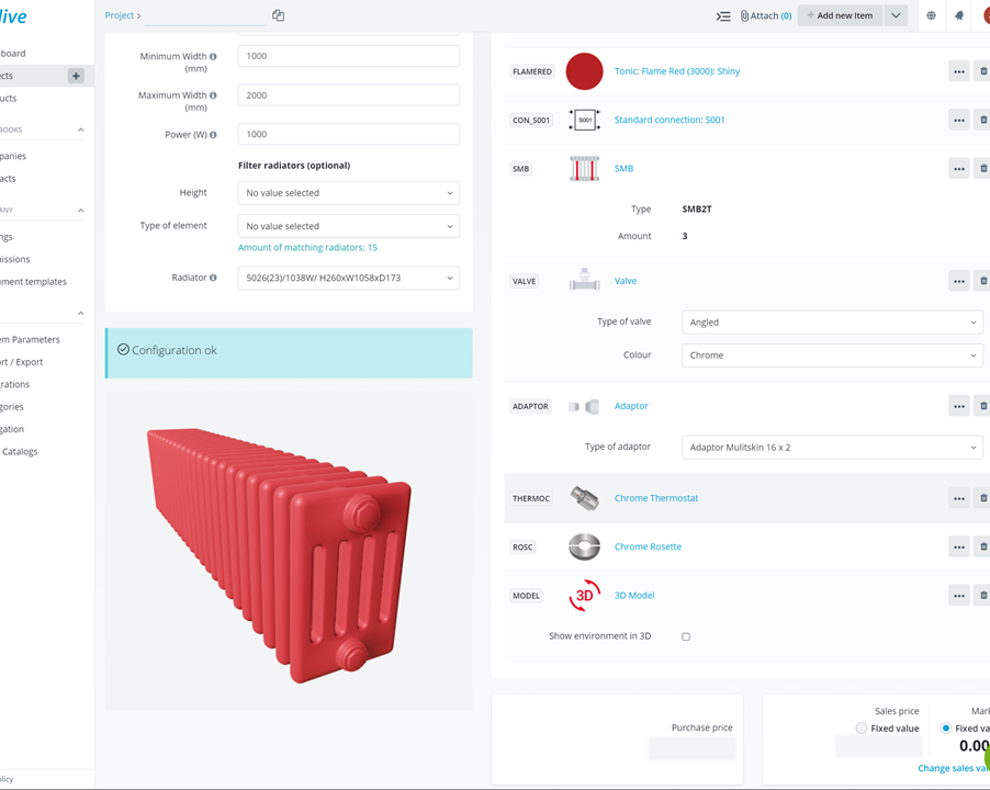 Configuration of a radiator in HiveCPQ: configuration settings and options and a visual 3D model of the configured product. Real-time pricing shows up on the bottom right corner.