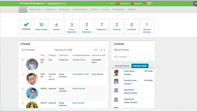 Blackbaud Enrollment Management System Software - Blackbaud Enrollment Management System schedule